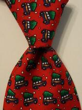 VINEYARD VINES Martha's Mens 100% Silk Necktie Luxury WOODY & TREE Red/Green EUc