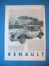 PUBLICITE DE PRESSE RENAULT NERVASTELLA BERLINE SPORT 8 CYL. EN LIGNE AD 1931