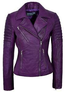 Ladies Leather Jacket Purple Designer Fashion Real Leather Biker Jacket 9334