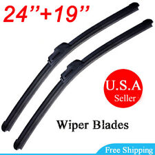 "24"" & 19"" Front Windshield Wiper Blades J-HOOK Bracketless OEM Quality Jointless"