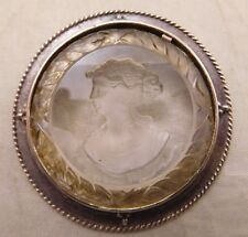 VICTORIAN EXTASIA STERLING SILVER FRENCH CARVED MAIDEN INTAGLIO GLASS PIN BROOCH