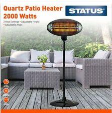 Status Quartz Outdoor Electric Halogen Patio Heater 2000W Black EX DEMONSTRATION