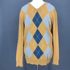 OLD NAVY Sweater L Mens Mustard Orange V-Neck Gray Blue Argyle Cotton