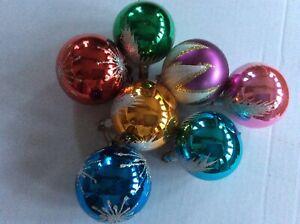 7 x Vintage Retro Christmas Tree Decorations  Glass Baubles Ornaments LOT 1