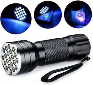 UV Ultra Violet 21 LED 395/400 nM Flashlight Mini Blacklight Aluminum Torch Lamp