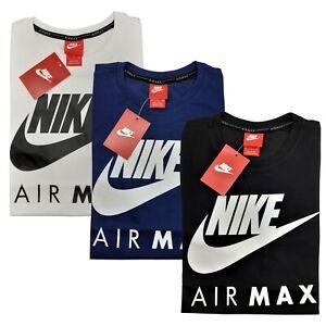 Nike Air Max T-Shirt Weiß Blau Schwarz Sport Freizeit 100% Baumwolle
