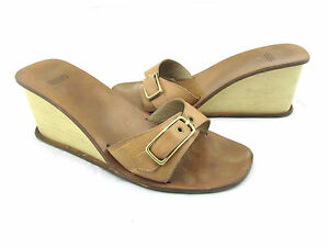 COACH Honey Kerala Natural Tan Brown Leather Buckle Strap Wedges Sandals 10