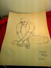 "Vtg 1971 Nude Man ""Steve"" 10 Minute Charcoal Pencil Sketch 2 Sided By M. Belt"