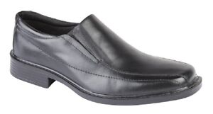 Roamers M724 Leather Twin Gusset Panel Sqaure Toe Casual Shoes Black Leather