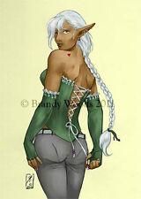 Sexy Dark Elf DROW Fantasy Pinup ACEO art Brandy Woods