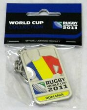 33661 RUGBY WORLD CUP 2011 ROMANIA SILVER JERSEY FLAG KEYRING KEY RING