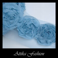 Sky Blue CHIFFON ROSETTE Frayed Mesh LACE TRIM Edging Craft 1y 12 Large Flowers