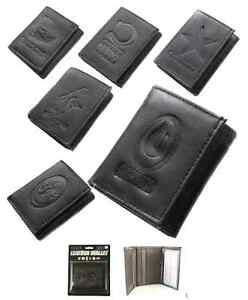 NFL Team Black Tri-Fold Leather Wallet - Choose Your Team