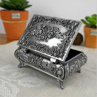 Metal Alloy Vintage Flower Carved Jewelry Box Trinket Case Jewellery Storage