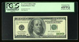 DBR 2003-A $100 Fr. 2179-F PCGS 45 PPQ Binary Serial FF11911111C Near-Solid 1s