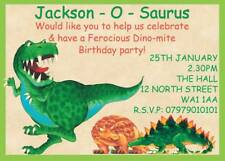 PERSONALISED DINOSAUR CHILDRENS INVITES BOYS BIRTHDAY PARTY INVITATIONS  X 12