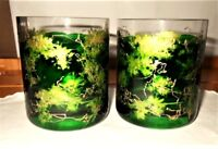 Vintage Pair of Crystal Double Old Fashion /Rocks Glasses Green Gold Handpainted