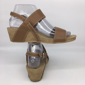 "Clarks Alto Disco Wedge Brown Leather Slingback Sandals 2"" heel open toe US 7 W"