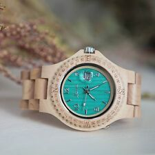 Luna Accessories wooden watch with date function - Turquoise