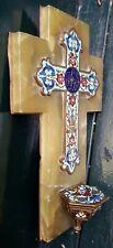 Antique Gilt Enamel Cloisonne Holy Water Font/Stoup Crucifix Onyx Marble Cross