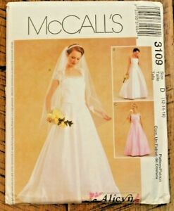 McCall's 3109 Misses Evening Length Alicyn Bridal Formal Dress Pattern 12-14-16