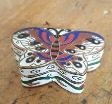 Ancienne boite  pillulier peinture émaillé a decor de papillon old box butterfy