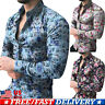 Stylish Men Slim Fit Casual Dress Shirt Floral Print Long Sleeve Shirts Tops Tee