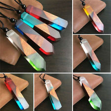 Women Men Handmade Resin Wood Pendant Necklace  Colored Rope Chain Jewelry Gift
