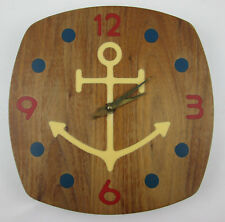 Hardwood Wall Clock with Anchor Nautical Maritime Theme GladMark of Burbank Wood