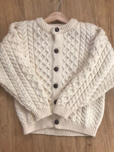 Beautiful Children's Traditional Aran Cable Knit Pure New Wool Cardigan Childs