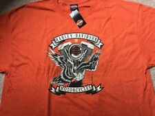 Harley Davidson Fired Up burnt Orange Shirt Nwt Men's Large