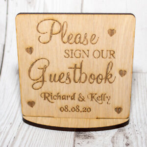 Personalised Sign Our Guest Book stand wedding plaque wooden