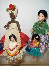 Lot of 4 Vintage International Ethnic Costume Dolls