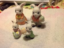 Beautiful Collection Of Homco Handcrafted Rabbit Figurines Set Of 4