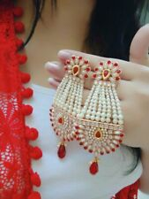 Indian Pakistan Bollywood Beaded Hanging Red Earrings Gold Plated Party Wear