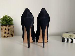 Casadei Blue Suede Platform Heels, Eur 37.5