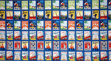 USA Travel Fabric - City State Tourist Travel Theme 15337 Robert Kaufman - Panel