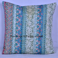 Indian Handmade Floral Kantha Cushion Cover Cotton Printed Pillow Case Decor Art