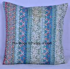Indian Handmade Floral Kantha Cushion Cover Cotton Printed Pillow Case Decor Art