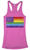 Gay Pride Rainbow American Flag #2 Women's Racerback Tank Top LGBT