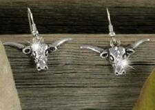 Earrings, Western Longhorn Steer Cowgirl Cowboy Rodeo Roping Texas Pierced #4-D