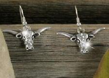 Western Longhorn Steer Cowgirl Cowboy Rodeo Roping Texas Pierced Earrings #4-D