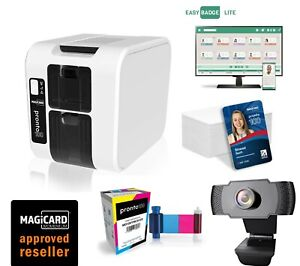 Magicard Pronto 100 Plastic Card Printer with Ribbon, Software, Cards & webcam.