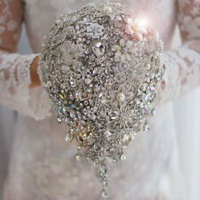 Hand Made Crystal Rhinestone Brooch Bridal Wedding Teardrop Bouquet Silver gold