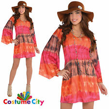 Adults Womens 1960s Festival Hippie Dress Hippy 60s Fancy Dress Party Costume