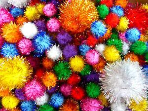 Glitter Sparkly Pom Poms Assorted Colours & Sizes 30g