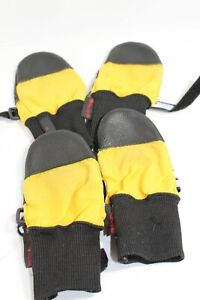 Muttluks Black & Yellow Dog Boots All Weather Leather Sole Fleece Lined MEDIUM