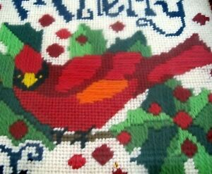 Vintage Finished Needlepoint A Merry Christmas Red Cardinal Bird Framed Art
