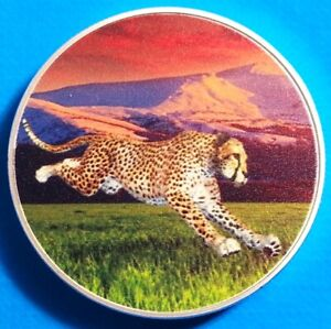 Zambia African Cheetah 2016 UNC Africa Wildlife Color Coin