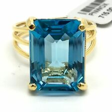 18k Yellow Gold Emerald Shape Natural Blue Topaz Ring. November Birthstone